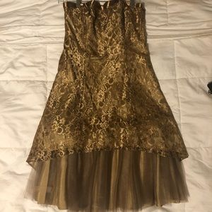 Gold strapless dress